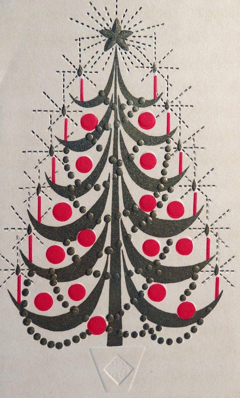mid mod tree  vintage christmas cards vintage holiday