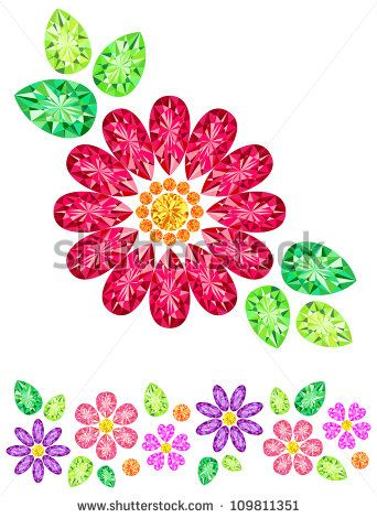 Jewel was placed in the form of red flowers