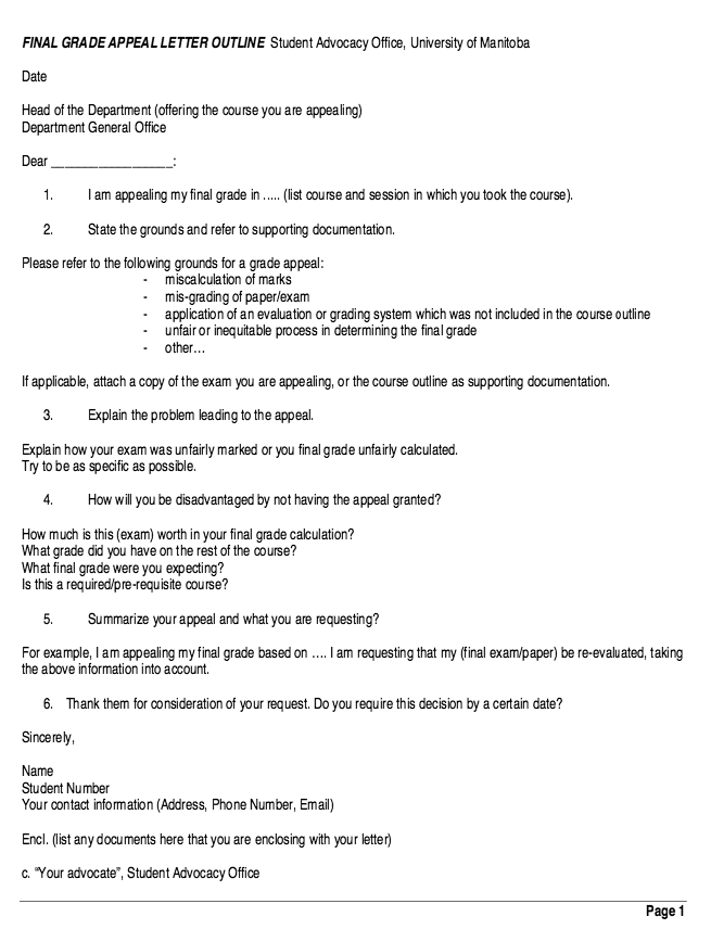 Final Grade Appeal Letter Outline Resume resumesdesign – Appeal Letter
