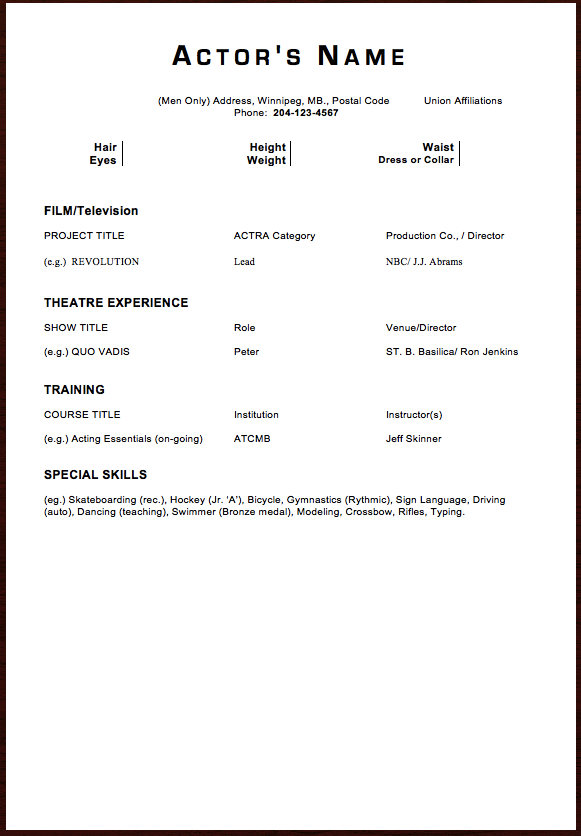 Acting Resume SampleExamplesTemplate  HttpExampleresumecv