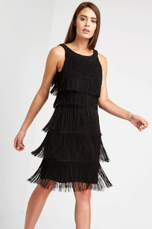 a0483bb0dfa Embellished Fringe Flapper Dress - Free UK Delivery - 10 12 14 16 18 20 - A layered  fringe dress with a chic sequin trim neckline
