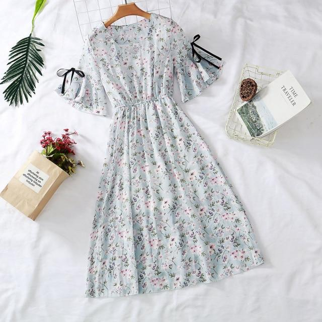 Women Chiffon High Elastic Waist Dress A-line Short Sleeve Flower Print Floral Bohemian Dresses 2