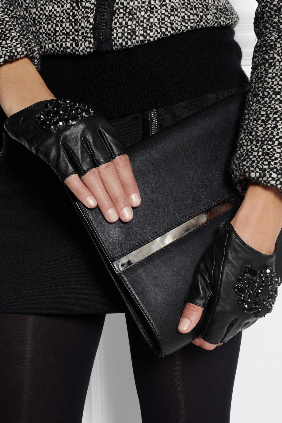 Black leather gloves female - Karl Lagerfeld Attens Crystal Embellished Leather Fingerless Gloves