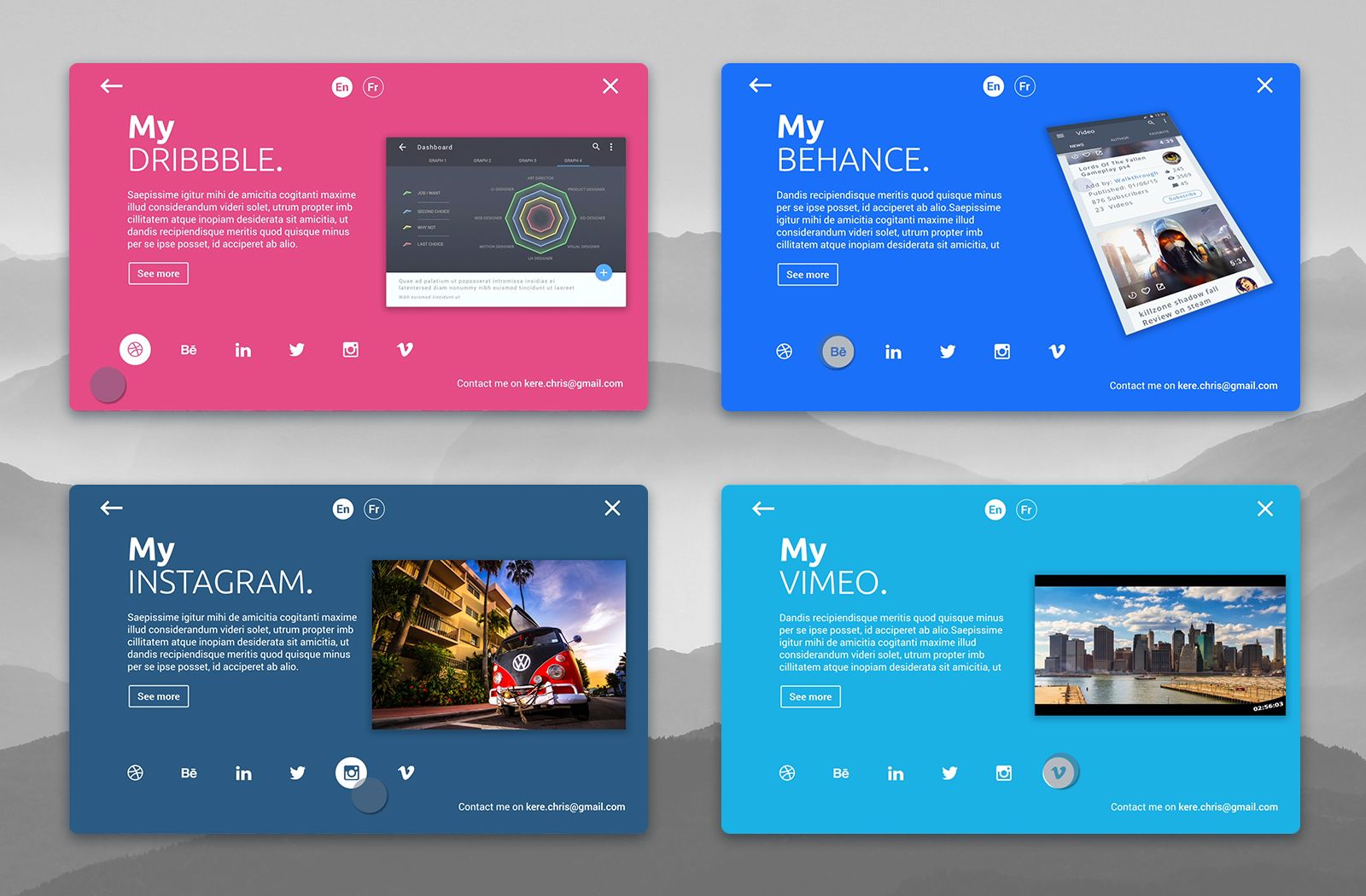Personal Card Material Design Animation Personal Cards Design