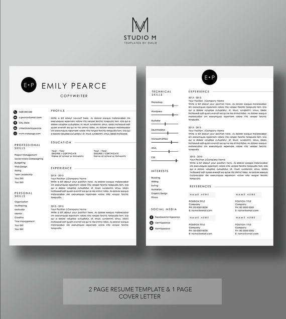 2 page Resume Template + 1 page Cover Letter | Professional CV ...