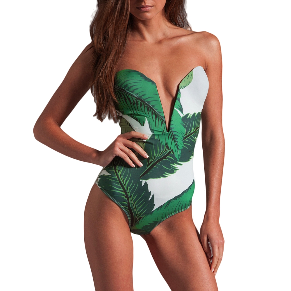 7.14$  Buy here - http://alis1w.shopchina.info/go.php?t=32798774366 - One-piece Swimsuit Women Floral V-Neck Bikini Push Up Bathing Swimwear Padded Women Swimsuit Leaves Print Beachwear Bikinis    #buyonline