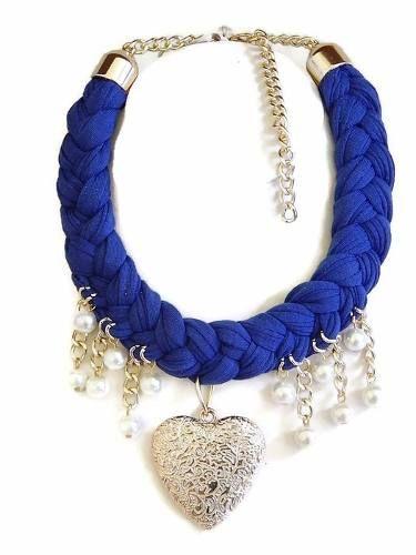 collar artesanal corazon moda bisutería