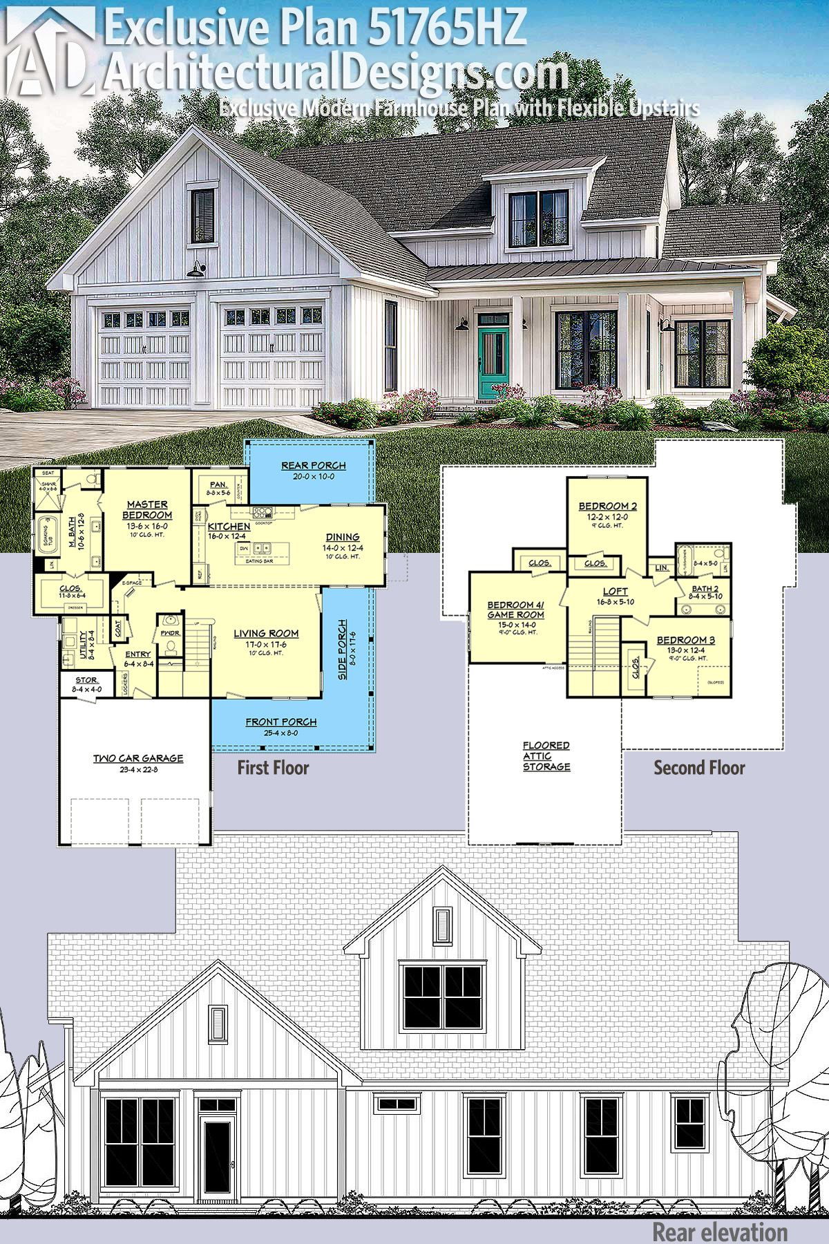Plan 51765hz Exclusive Modern Farmhouse Plan With Flexible Upstairs In 2020 Modern Farmhouse
