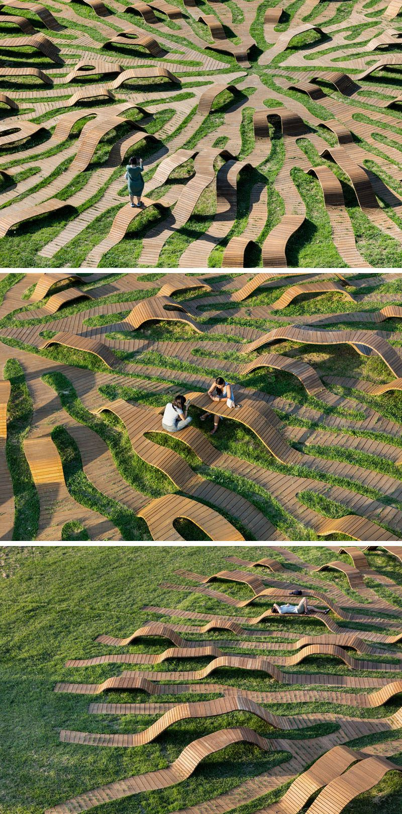 Yong Ju Lee Architecture have designed the Root Bench a circleshaped piece of public furniture that has a diameter of 30m is installed in grass and has the shape thats in...