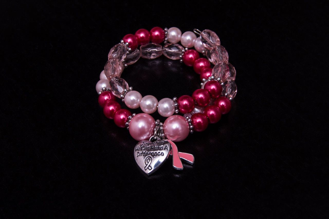 Cancer Awareness wrap bracelet. Choice of pearl bead color and charms. be inspired.  http://charmingtondesigns.com/