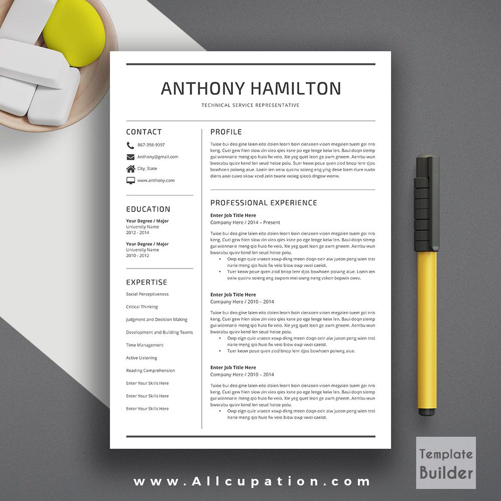 Professional resume template cover letter word modern creative professional resume template cover letter word modern creative simple resume instant download mac or pc anthony spiritdancerdesigns Gallery