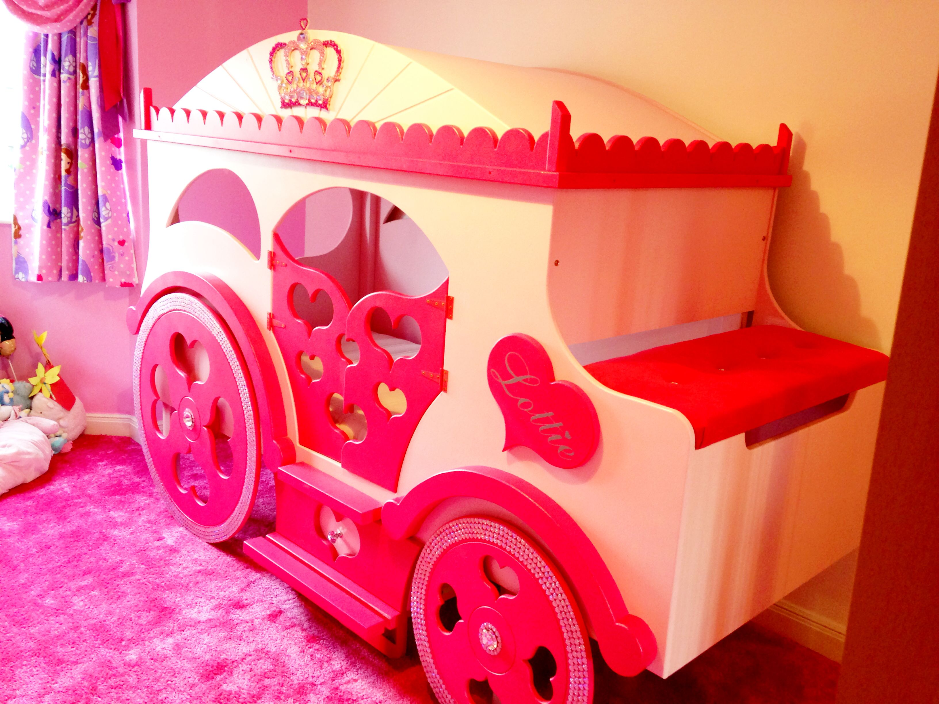 Pretty princess high sleeper playhouse bed - Pretty Pink Princess Carriage Bed