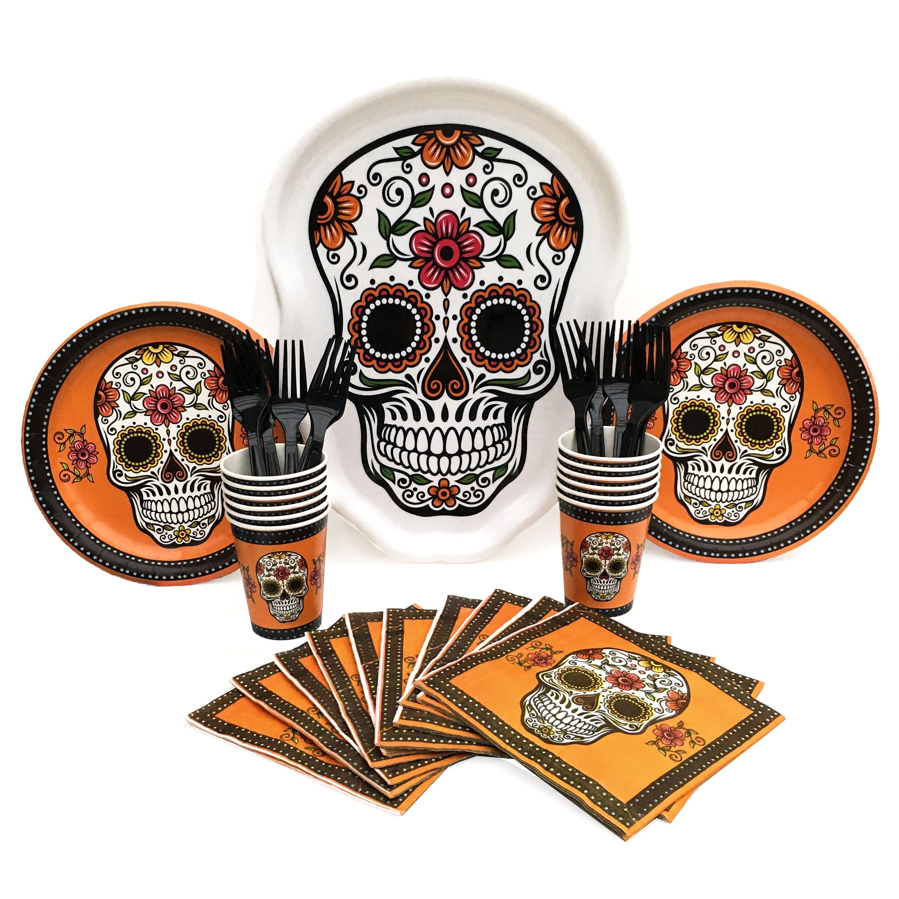Halloween Party Supply Bundle with Plates Cups Napkins Forks and Serving Tray - My Sugar Skulls  sc 1 st  Pinterest & Day of the Dead (Dia de Muertos) Halloween Party Supplies ...