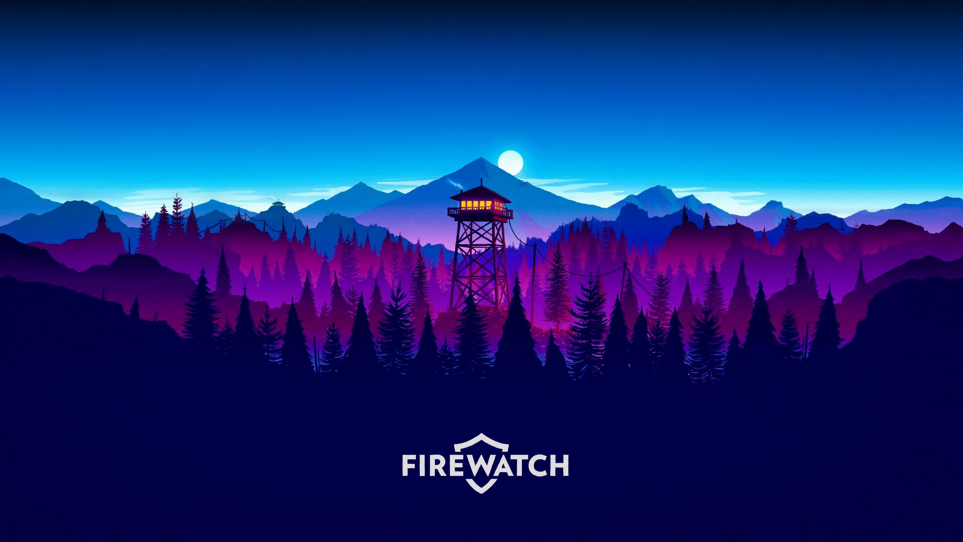 Firewatch Digital Wallpaper Purple And Blue Mountains Illustration Firewatch Video Games Forest Natu Sunset Artwork Desktop Wallpaper Art Digital Wallpaper