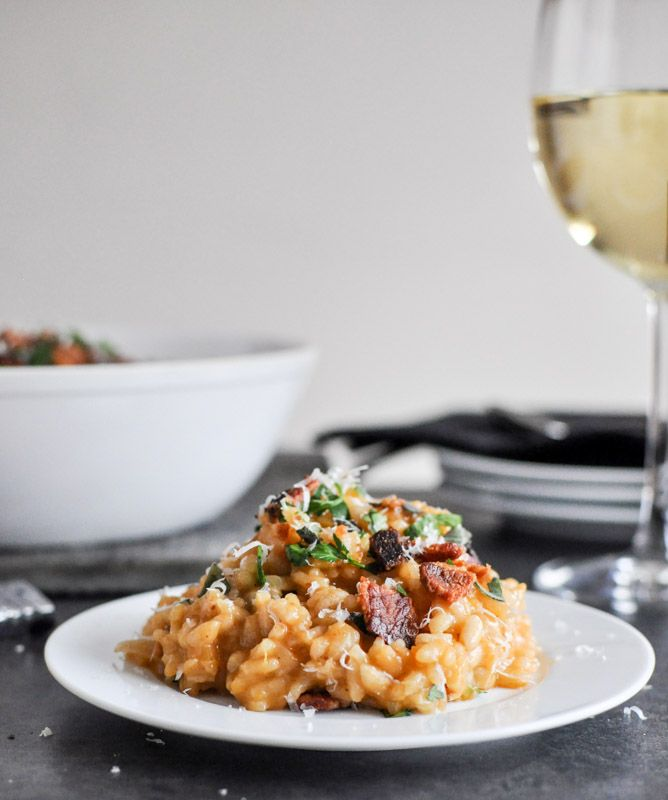 Roasted Sweet Potato Risotto With Brown Butter Bacon And Fresh Herbs Recipe Sweet Potato Risotto Food Roasted Sweet Potatoes