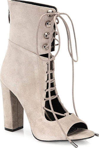 90957dcad3 Ella Suede Lace-Up Block-Heel Booties - Booties - KENDALL + KYLIE - BLACK.  Notched suede peep-toe bootie with lace-up styling. Self-covered block heel,  ...