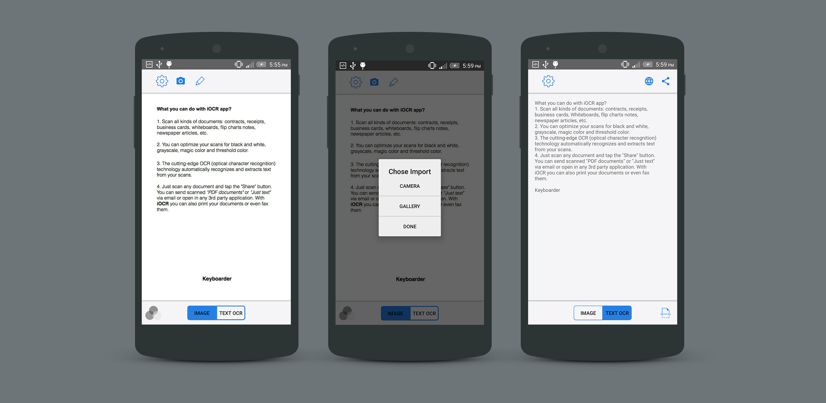 iOCR Android Optical Character Recognition Application