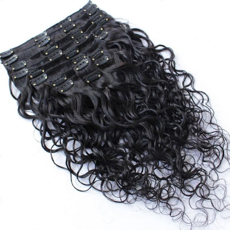 120g Full Head Clip In Human Hair Extensions Water Wave 7a Brazilian