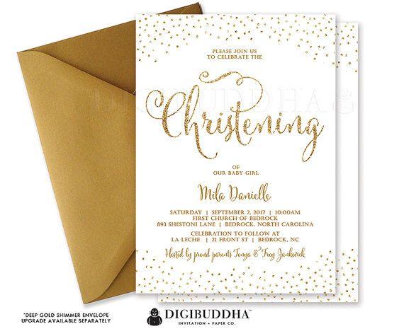 Gender Neutral Baptism Invitation White Gold Glitter Confetti Baby