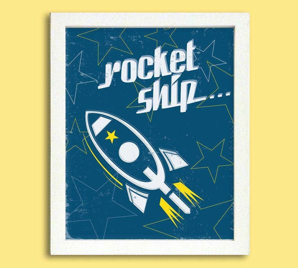Retro Rocket Ship Poster - 8 x 10 Digital - Boy's Room Decoration. $7.95,