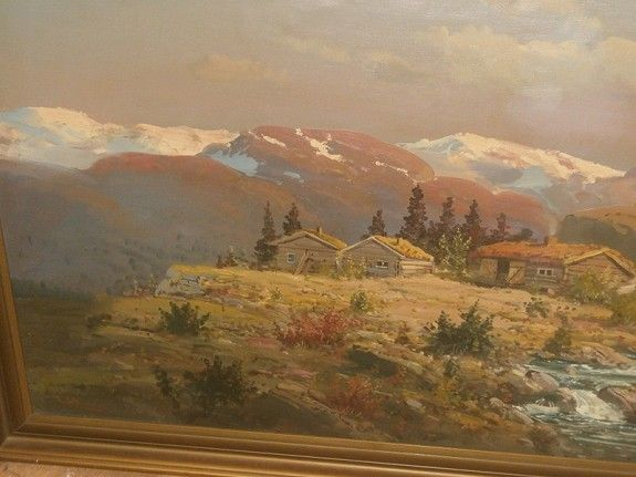 FINN – NY PRIS! Stort Reidar Steinnes - Fjellgård-Rammemål 113 x 93 cm.