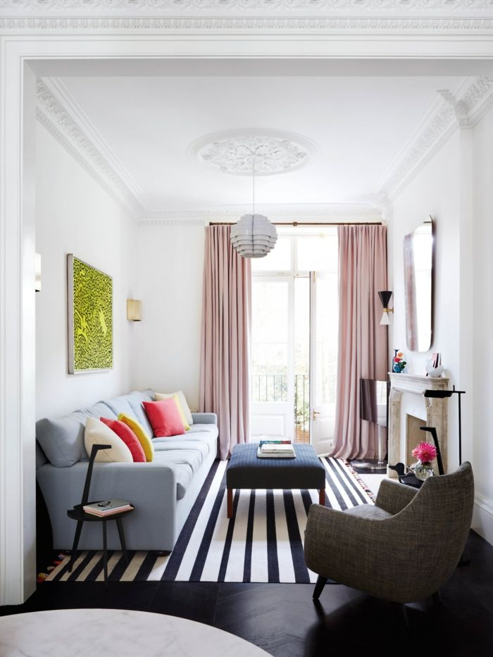 1001 wohnzimmer ideen f r kleine r ume zum entlehnen rosa vorh nge wohnzimmer einrichten. Black Bedroom Furniture Sets. Home Design Ideas