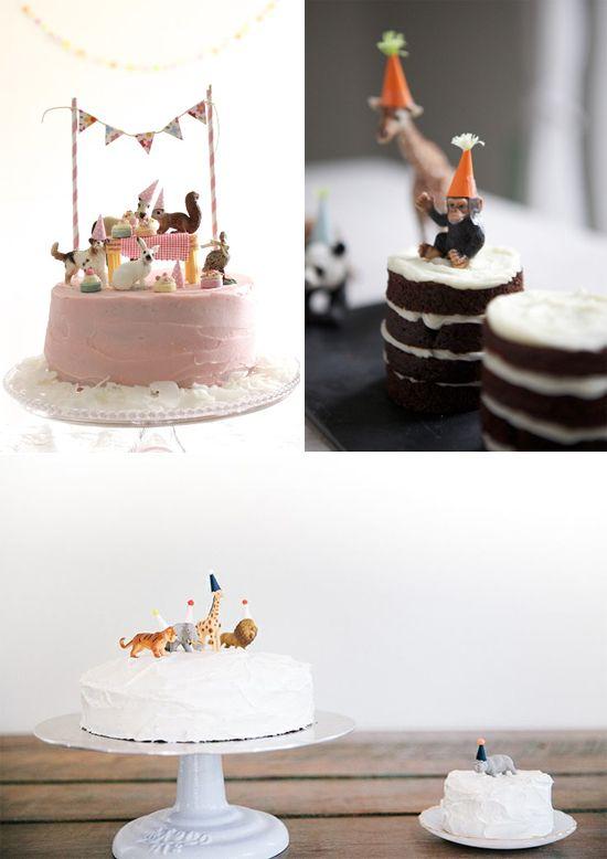 10 Animal Figurine DIYs Simple 1st Birthday Party Boy Girls 2nd Cake Happy
