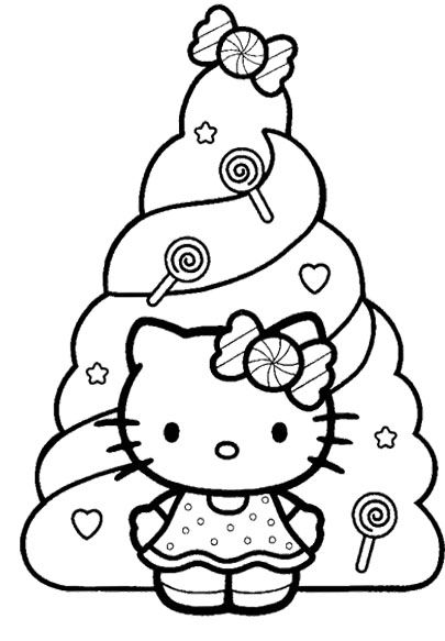 Hello Kitty Christmas And Decorated Christmas Tree Coloring Pages ...