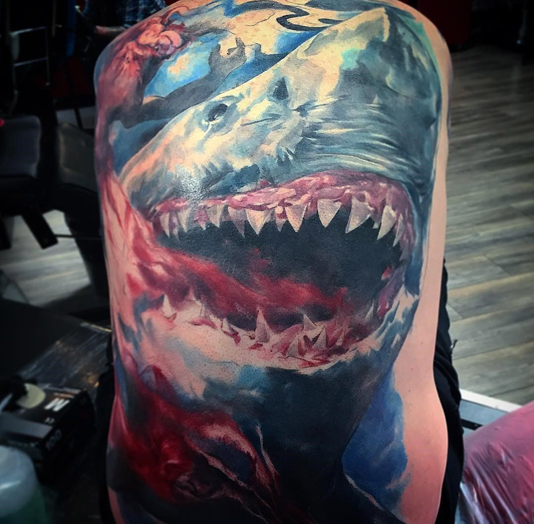 Tattoo ideas back piece great white shark back tattoo  ink  pinterest  tattoo animal