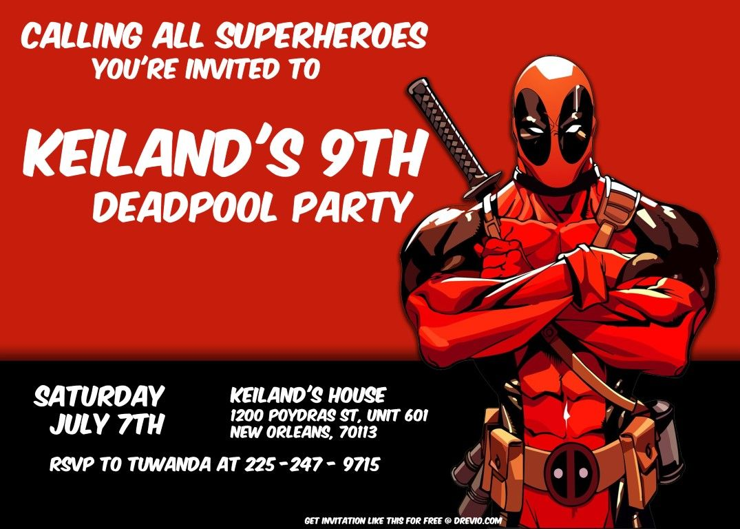 free deadpool 2 birthday invitation template free printable