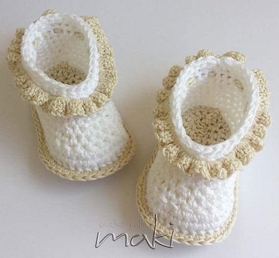 Crochet pattern SIMPLE baby booties - Perfect for special occasion ...