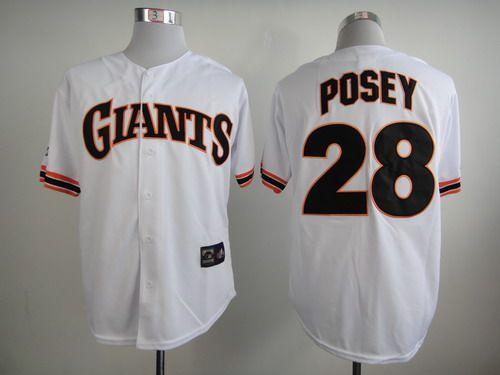 Men's San Francisco Giants #28 Buster Posey 1989 White Majestic Jersey