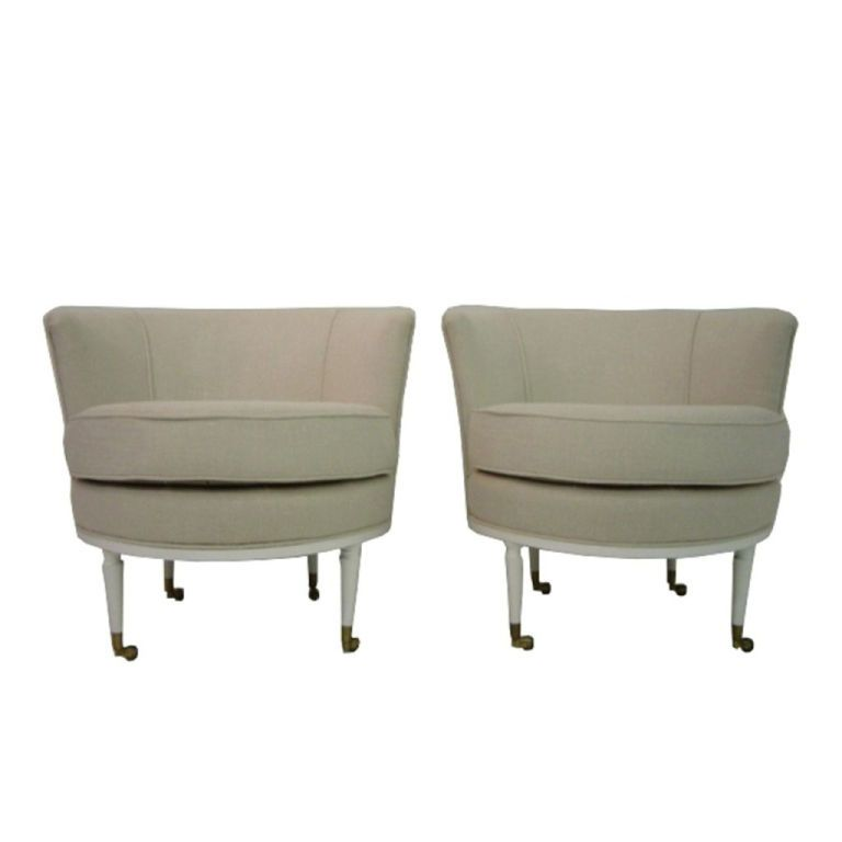 1stdibs | 2 1960s French Barrel Chairs In Off White Fabric On Casters
