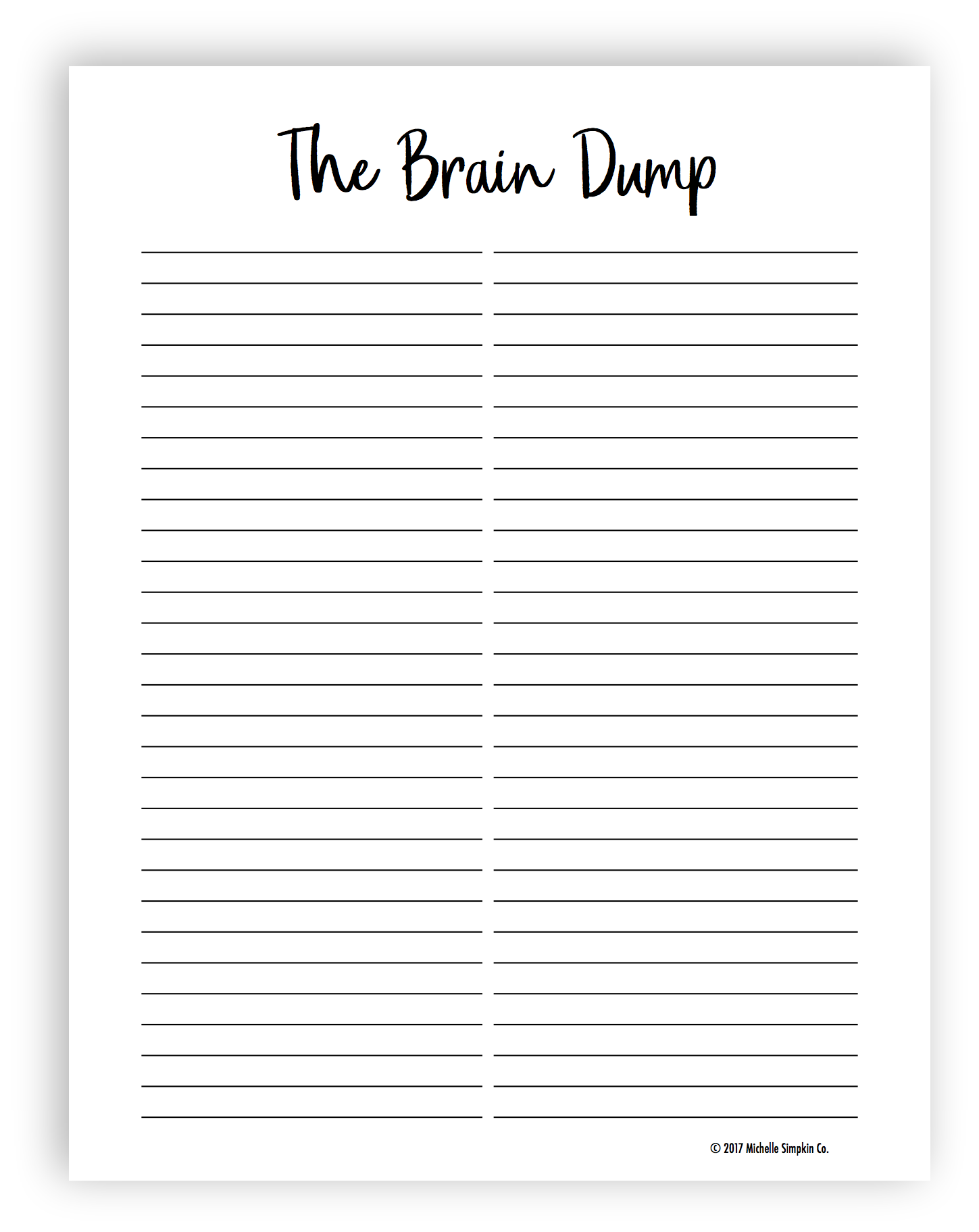 It is an image of Declarative Brain Dump Printable