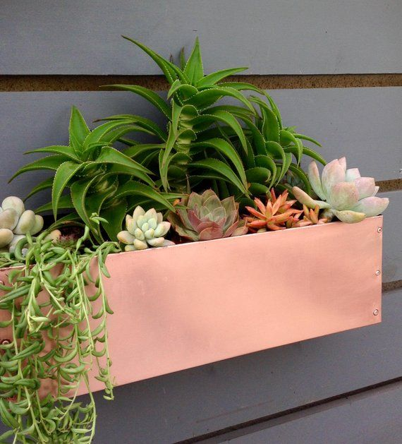 Copper Hanging Planter Box Horizontal Fence Planter Etsy In 2020 Fence Planters Succulent Wall Garden Hanging Planter Boxes