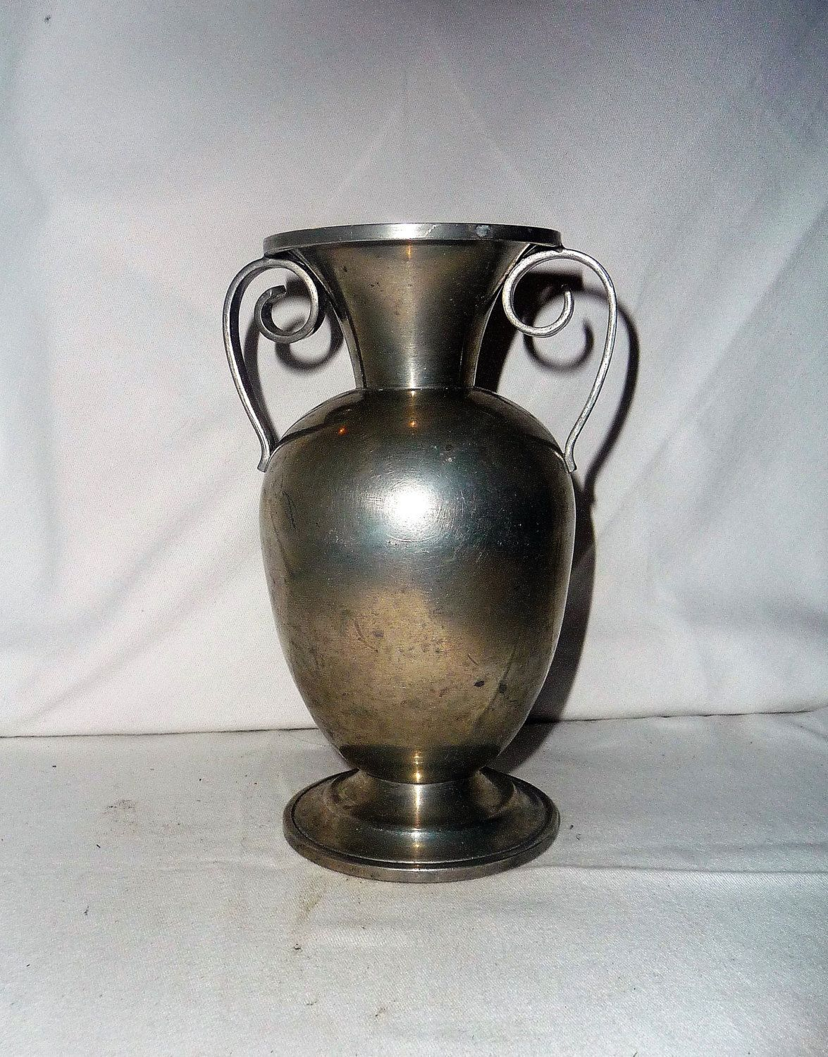 Metal Centerpiece Bowl Vintage Antique Pewter Vase With Two Handle Metal Vase