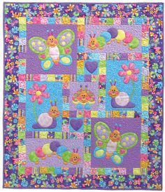 Bugsy Quilt Pattern - by Kids Quilts Butterflies Snails Garden Critters Crib Quilt Baby