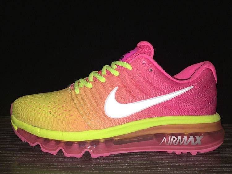 Nike Air Max 2017 Women Mesh Peach Fluorescent Yellow