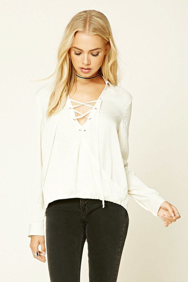 FOREVER 21+ Contemporary Satin Lace-Up Top