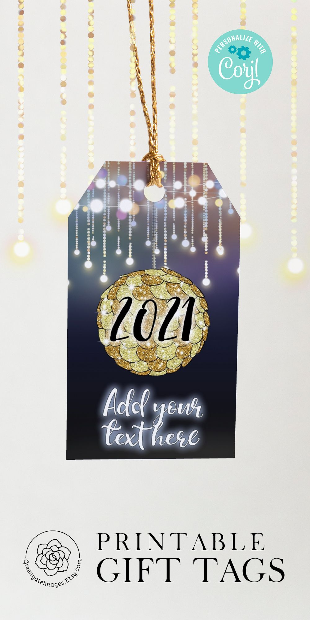 New Year's Gift Tag Editable in Corjl, printable gift