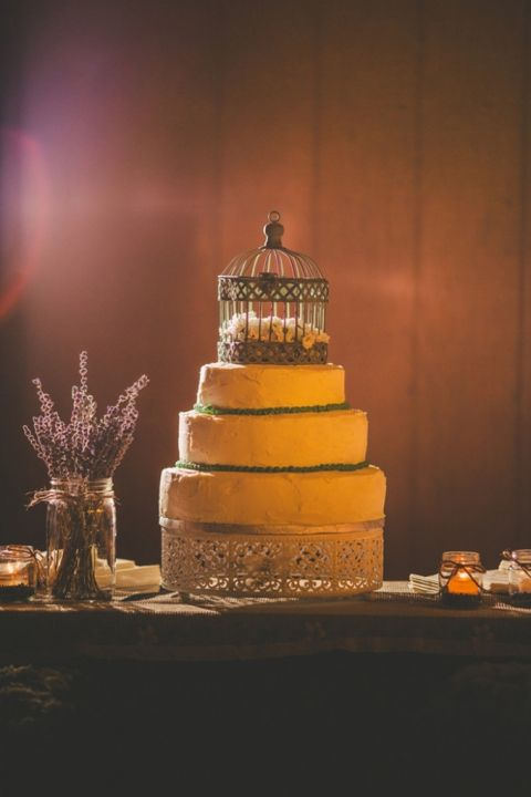 Simple Wedding Cake topped with a Birdcage   Love Out Loud Studios   Gorgeous Rustic Bohemian Wedding in Vancouver