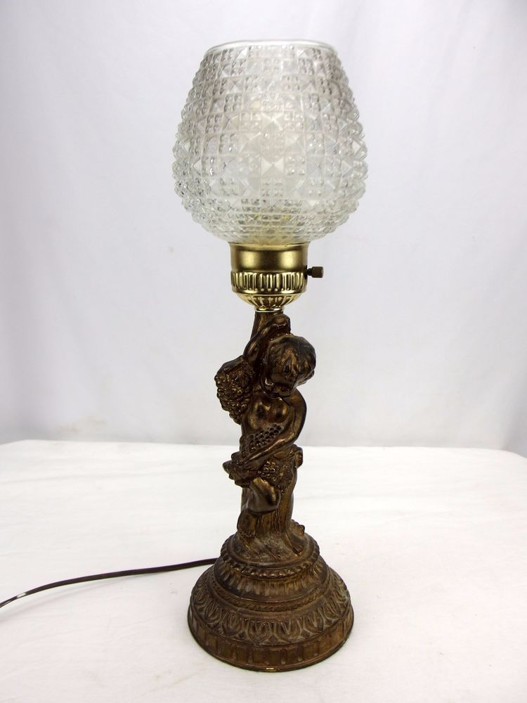 Hollywood Regency Bronze Brass Cherub Holding Grapes Table Lamp 17 Funky Lamps Lamp Table Lamp