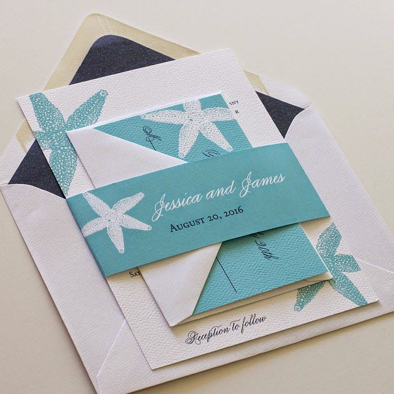 Starfish Wedding Invitation Suite with Belly Band | Belly bands ...