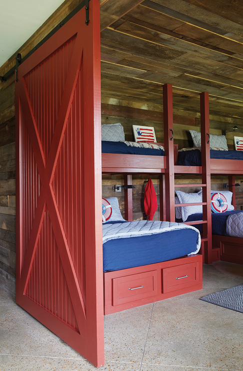Red Bunk Beds With Red Barn Door Country Boy S Room Bunk Beds Built In Bunk Rooms Bunk House