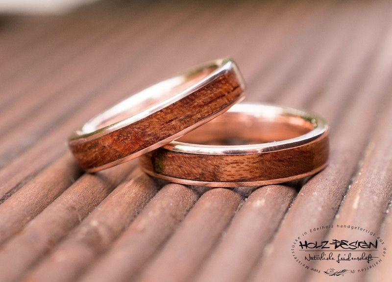 Holzringe Roségold Trauring Set Eheringe Verlobung Holz