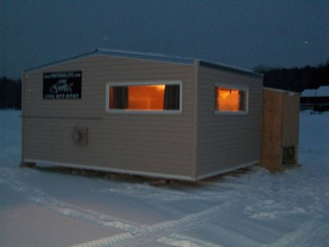 Ice shanty ice bungalows ice hut ice shack on ice for Ice fishing shelters for sale