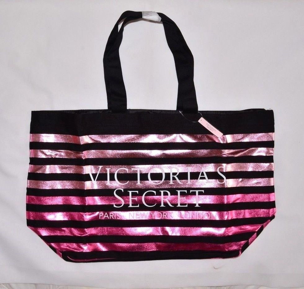 NEW VICTORIA/'S SECRET PINK LARGE Black// Grey MARLED WEEKENDER TOTE BAG SHOPPER