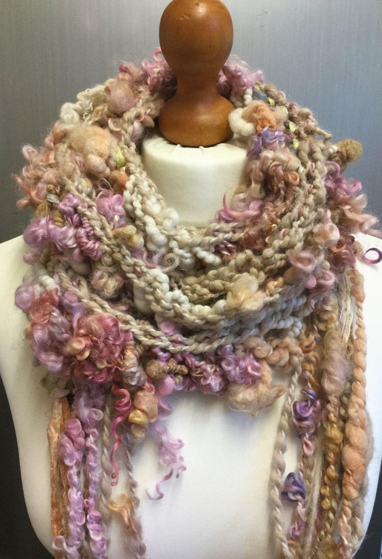 Knitting Yarn Scarf : Hand knitted art yarn oversized skinny lariat scarf one