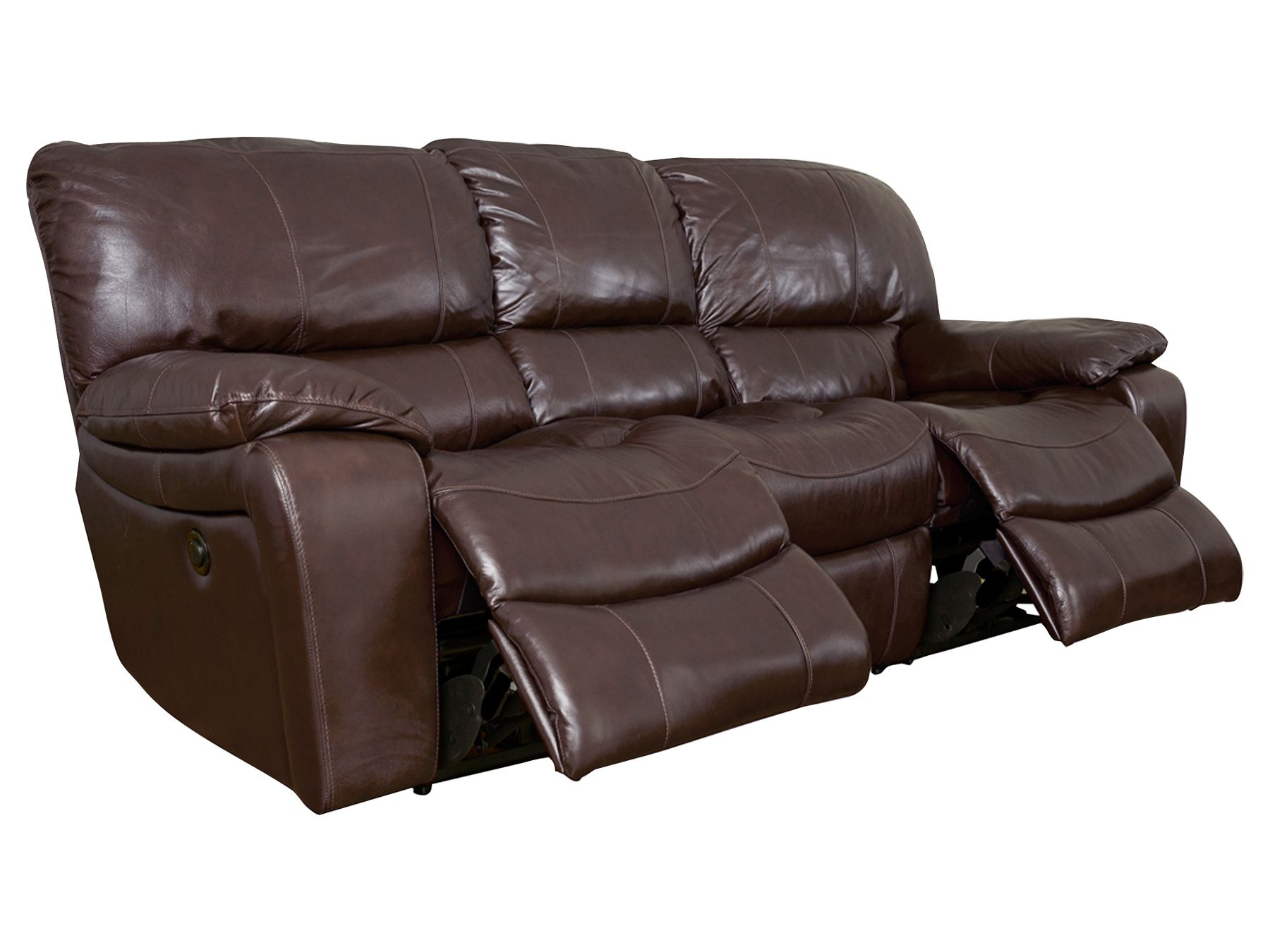 reclining sofa leather brown rattan garden furniture dining set 3 seater recliner styles