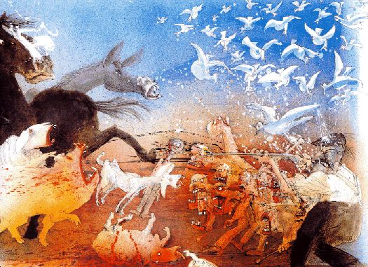 Scene From The Book Animal Farm By Ralph Steadman Ralph Steadman Art Ralph Steadman Animal Farm George Orwell